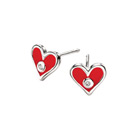 Adorable Tiny Red Heart Diamond Earrings for Girls - High Polished Sterling Silver Enameled Heart with Genuine Diamond - Push-Back Posts