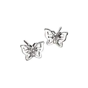 Adorable Silver Butterfly Diamond Earrings for Girls - High Polished Sterling Silver Butterfly with Genuine Diamond - Push-Back Posts - BEST SELLER