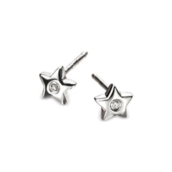 Adorable Silver Star Diamond Earrings for Girls - High Polished Sterling Silver Star with Genuine Diamond - Push-Back Posts - BEST SELLER/