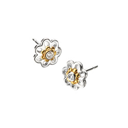 Adorable Tiny Daisy Diamond Earrings for Girls - High Polished Sterling Silver and Gold Plated with Genuine Diamond - Push-Back Posts/