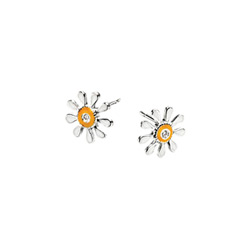 Adorable Tiny Yellow Daisy Diamond Earrings for Girls - High Polished Sterling Silver Enameled Flower with Genuine Diamond - Push-Back Posts/