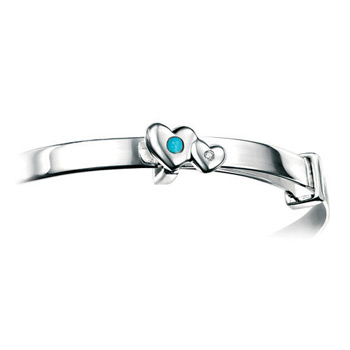 Girls Heart Birthstone Bracelet - High Polished Sterling Silver December Turquoise Birthstone Bracelet - Baby, Toddler