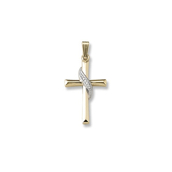 "Heirloom Two-Tone Cross - Solid 14K Yellow Gold Two-Tone - 14K Yellow Gold 18"" Chain Included"
