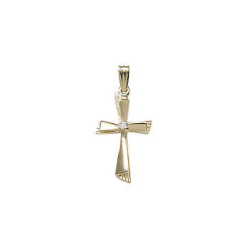 "Heirloom Diamond Cross - 14K Yellow Gold Genuine Diamond Cross - 14K Yellow Gold 18"" Chain Included"
