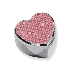 Ella - Pink Glitter Heart Engravable Silver-Plated Jewelry Box - BEST SELLER/