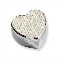 Lily - White Glitter Heart Engravable Silver-Plated Jewelry Box - BEST SELLER/