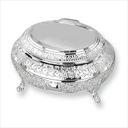 April - Large Engravable Floral Oval Silver-Plated Jewelry Box/