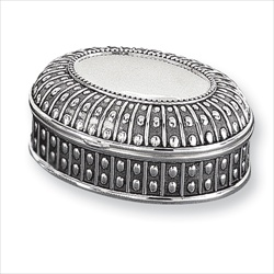 Jasmine - Engravable Antiqued Oval Silver-Plated Jewelry Box/