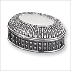 Jasmine - Engravable Antiqued Oval Silver-Plated Jewelry Box