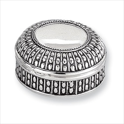 Faith - Engravable Antiqued Round Silver-Plated Jewelry Box/
