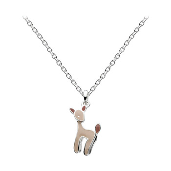 "Little Girls Holiday Reindeer Necklace - Sterling Silver Rhodium Girls Reindeer Perfect Christmas Gift Necklace - 14"" Chain Adjustable to 12"""
