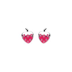 Adorable Little Girls Strawberry Earrings - Enameled Sterling Silver Rhodium Girls Earrings - Push-Back Posts - BEST SELLER/