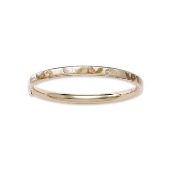 "Fine Baby Bracelets - 14K Yellow Gold Baby, Toddler Tri-Color Floral Bangle Bracelet - Size 4.5"" - BEST SELLER"
