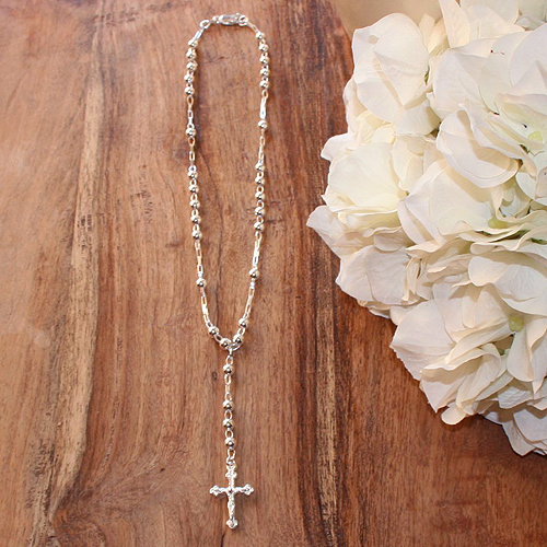 My First Rosary™ - Sterling Silver Rosary Necklace - Add an optional engravable charm and birthstone to personalize - BEST SELLER