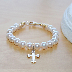 14K Yellow Gold Classic Beauty™ by My First Pearls® – Grow-With-Me® designer original freshwater cultured pearl bracelet – Personalize with gemstones & charms/