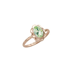 Girl's Birthstone Rings - 10K Yellow Gold Girls Synthetic Peridot Birthstone Ring - Size 5 1/2 - Perfect for Grade School Girls, Tweens, or Teens - BEST SELLER - LAST ONE/