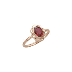 Girl's Birthstone Rings - 10K Yellow Gold Girls Synthetic Ruby Birthstone Ring - Size 5 1/2 - Perfect for Grade School Girls, Tweens, or Teens - BEST SELLER - LAST ONE/