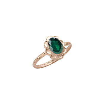 Girl's Birthstone Rings - 10K Yellow Gold Girls Synthetic Emerald Birthstone - BEST SELLER - LAST ONE