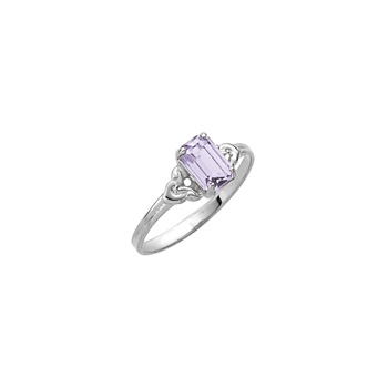 Kid's Birthstone Rings for Girls - Sterling Silver Rhodium Girls Synthetic Amethyst February Birthstone Ring - Size 4 1/2 - Perfect for Grade School Girls, Tweens, or Teens