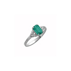 Kid's Birthstone Rings for Girls - Sterling Silver Rhodium Girls Synthetic Emerald May Birthstone Ring - Size 4 1/2 - Perfect for Grade School Girls, Tweens, or Teens
