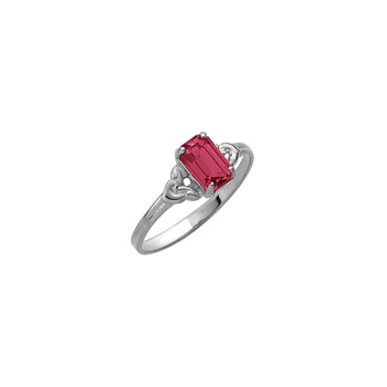 Kid's Birthstone Rings for Girls - Sterling Silver Rhodium Girls Synthetic Ruby July Birthstone Ring - Size 4 1/2 - Perfect for Grade School Girls, Tweens, or Teens - BEST SELLER