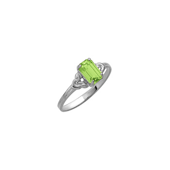 Kid's Birthstone Rings for Girls - Sterling Silver Rhodium Girls Synthetic Peridot August Birthstone Ring - Size 4 1/2 - Perfect for Grade School Girls, Tweens, or Teens - BEST SELLER