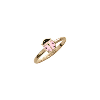 Little Girls Adorable Pink Ladybug Ring - 10K Yellow Gold Ladybug Ring - Size 3 1/2 - Perfect for Toddlers and Grade School Girls - BEST SELLER