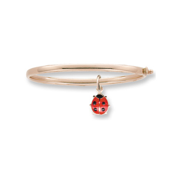"Little Girls Adorable Red Ladybug Bangle Bracelet - 14K Yellow Gold Baby, Toddler Bangle Bracelet - Size 5.25"" - BEST SELLER"
