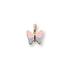 Pink and Blue Gold Butterfly Necklace for Girls - 14K Yellow Gold - 15