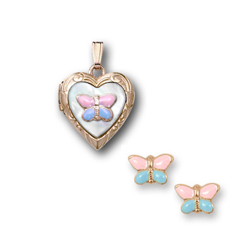 "Pink and Blue Butterfly Locket Necklace and Earring Set - 14K Yellow Gold - 15"" chain included - 2 Item Set - Save $24 with this set"