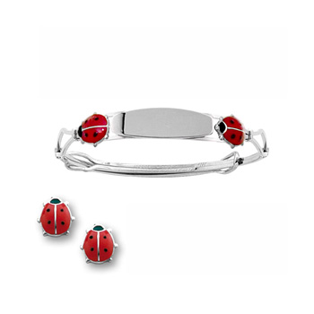 Red Ladybug Earring and Engravable Bracelet Set - Sterling Silver Rhodium - 2 Item Set - Save $12 with this set - BEST SELLER