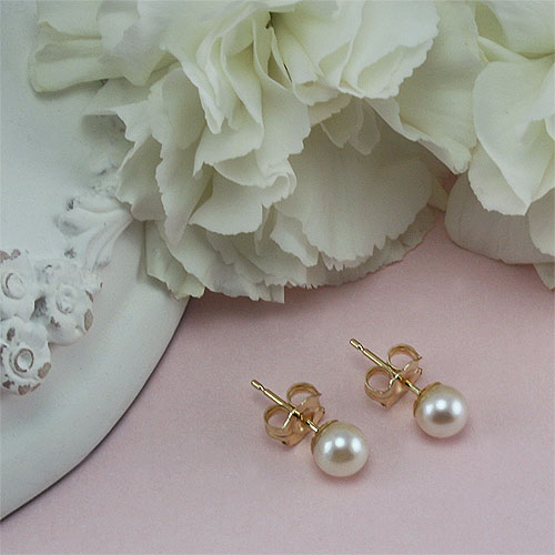Bridal Party Gifts by Elegant Heirlooms™ - 14K Yellow Gold Premier Akoya Cultured Pearl Earrings (5.0 - 5.5mm pearl) - Tween, Teen, Adult Pearl Earrings - Buy 5 Get 1 Free