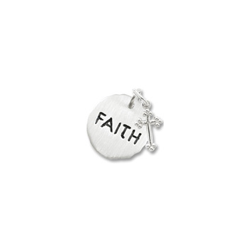 Rembrandt Sterling Silver Faith Charm with Cross Charm – Engravable on back - Add to a bracelet or necklace