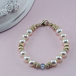 Amelia Claire™ by My First Pearls® – 14K yellow gold – Grow-With-Me® designer original freshwater cultured pearl bracelet – Personalize with gemstones & charms /