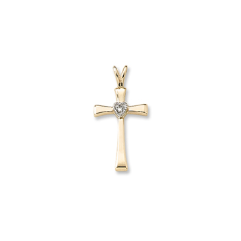 "Best Confirmation Gifts - Girls Heirloom Heart Cross Communion / Confirmation Necklace - 2-Point Genuine Diamond - 14K Yellow Gold  - 14K Yellow Gold 18"" Chain Included - BEST SELLER"