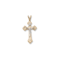 Two-Tone Crucifix Confirmation Cross for Girls or Boys - 14K Yellow Gold Two-Tone - 14K Yellow Gold 18