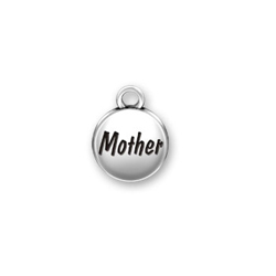 Mother Domed Message Charm - Sterling Silver/