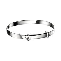 Engravable Diamond Heart Baby Christening Bangle Bracelet for Girls - Sterling Silver - Adjustable Heart Bangle Bracelet - Baby, Toddler /