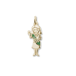 The Perfect Gift for Your Girl Scout (Daisy, Brownie, Junior, Cadette, Senior, or Ambassador) - Rembrandt 10K Yellow Gold Girl Scout Charm – Engravable on back - BEST SELLER/
