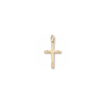 Rembrandt 14K Yellow Gold Diamond-Cut Medium Cross Charm – Add to a bracelet or necklace