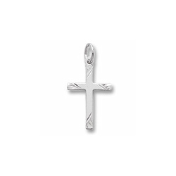 Rembrandt 14K White Gold Diamond-Cut Medium Cross Charm – Add to a bracelet or necklace/