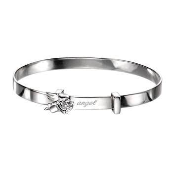 Engravable Diamond Angel Baby Bangle Bracelet for Girls - Sterling Silver - Adjustable Angel Bangle Bracelet - Baby, Toddler