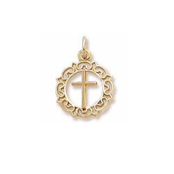 Rembrandt 14K Yellow Gold Round Decorative Cross Charm – Add to a bracelet or necklace/