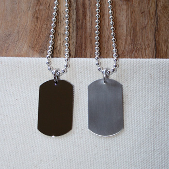 Tough and Rough for Boys and Girls - Rembrandt Sterling Silver Military ID Tag - Engravable on front and back - Add to a bracelet or create a custom ID tag necklace - BEST SELLER