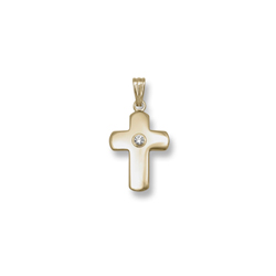 Heirloom Diamond Cross - 14K Yellow Gold Cross with 3-Point Genuine Diamond - 14K Yellow Gold 18