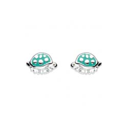 Adorable Little Girls Turtle Earrings - Enameled Sterling Silver Rhodium Girls Earrings - Push-Back Posts/
