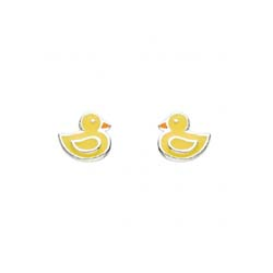 Adorable Little Girls Duck Earrings - Enameled Sterling Silver Rhodium Girls Earrings - Push-Back Posts/