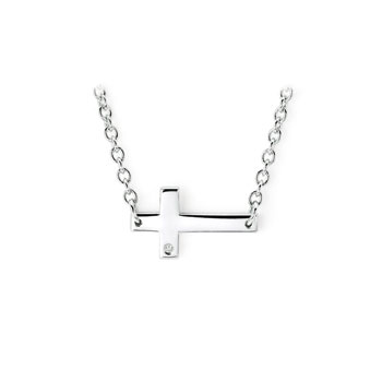 "Sideways Cross Necklace with Melee Diamond - Sterling Silver Rhodium - Chain adjustable at 16"" and 18"""