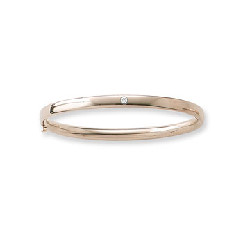 "Fine Baby Bracelets - 14K Yellow Gold Baby, Toddler Bangle Bracelet with One Genuine Diamond - Size 4.5"" - BEST SELLER"
