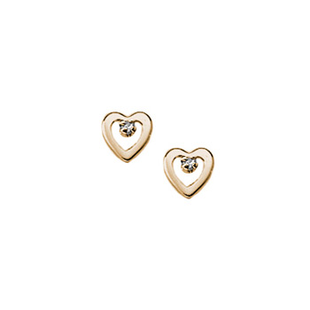 Girls Adorable Cubic Zirconia (CZ) Heart Earrings - 14K Yellow Gold Screw Back CZ Heart Earrings for Baby, Toddler, and Child - Safety threaded screw back post